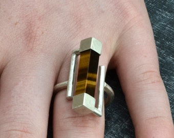 Tiger eye Silver ring  Modern Sterling Silver ring Statement Ring Handmade in France silver jewelry