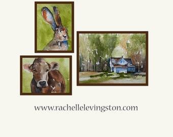 Print from original watercolor landscape painting Homestead Farm Landscape PRINT SET