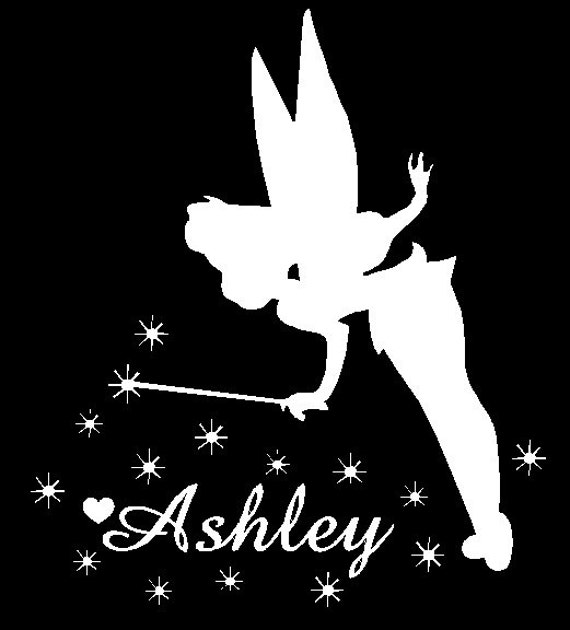 Tinkerbell car decal custom made to order personalize for Black and white tinkerbell