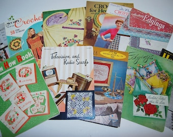 Vintage How To Crochet Knit and Embroidery Books.....Lot of 12