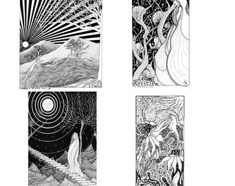Black and White Notecard Assortment - Acid free - Suitable for framing - Envelopes