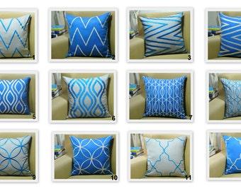 Blue Throw Pillow Cover Set of 2, Blue Gray Linen Pillow Chevron Ikat,Trellis Embroidery, Mix match pillow, modern home decor, contemporary