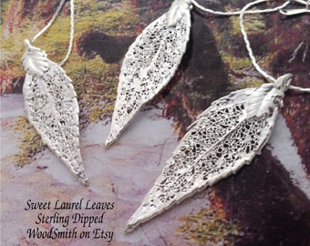 Silver Leaves Bridal Necklace Set, Three Sweet Bay Laurel Leaf pendants, Silver Dipped, chains, pendants, necklaces