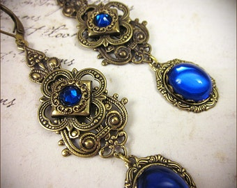 Ren Faire Jewelry, Sapphire Renaissance Earrings, Blue, Borgias, Medieval Bride, Tudor Costume, Bridesmaid, garb, Queen, Ready to Ship