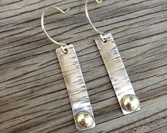 Artisan made sterling silver earrings textured with soldered bead- hand forged ear wires- angélique