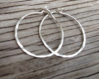 Earrings: Hammered sterling silver hoops handmade jewelry rustic handcrafted gift for her
