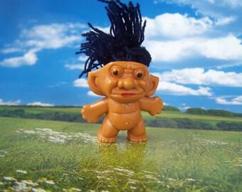 Vintage Toy, Yarn Hair Troll Pencil Topper 1960s Gumball Prize, Hong Kong, Miniature Troll Doll Kooky