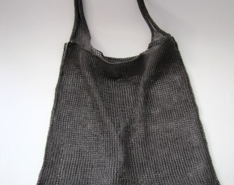 reversible knitted linen tote bag