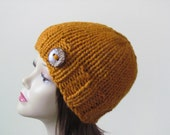 Chunky Knit Hat Winter Hat Chunky Knit Beanie Womens Hat Teens Hat - Butterscotch with  Button Accent  - Ready to Ship - Direct Checkout