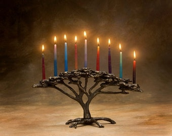 Tree of Life Menorah, Cast Bronze Hanukkah  9 candle Candelabra