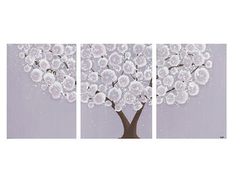 Purple Nursery Art Tree Wall Decor - Acrylic Painting on Triptych Canvas - Medium 35x14