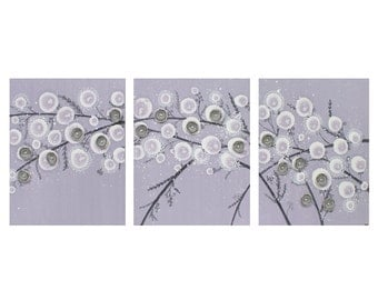 Purple and Gray Nursery Art - Mixed Media Flowers on Canvas Triptych Painting - Large 50x20