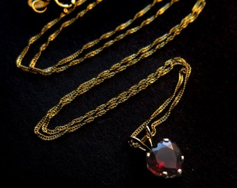 Solid 14K Gold and Tiny Red Garnet Heart Necklace