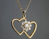 Double Gold Rhinestone Heart Necklace