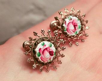 Guilloche Rose Enamel Earrings