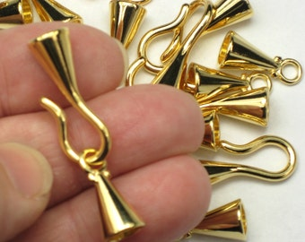 6mm Kumihimo Clasps, 2 or more gold plated hook & eyes, glue in style for braids, leather bracelets and necklace cord ends