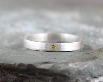 Yellow Diamond Ring - Sterling Silver Band - Men's or Ladies Jewellery - Wedding Band - Engagement Ring - Matte Finish