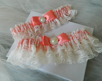 Wedding Garter Set- Coral and Ivory Rachel Lace Garter