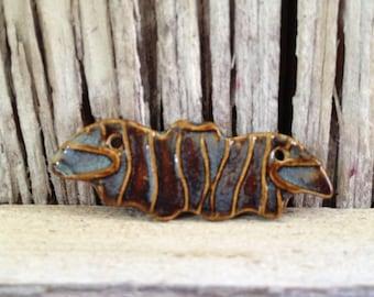 Halloween Bat Handmade Ceramic Bead Bat Pendant in Blue Brown Dusty Denim Glaze