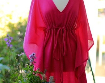 Caftan Maxi Dress - Beach Cover Up - Kaftan - Muumuu - Fuchsia