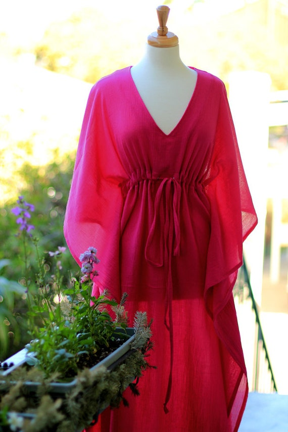 Caftan Maxi Dress - Beach Cover Up Kaftan in Fuchsia Cotton Gauze - 20 Colors