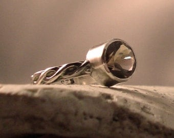 Natural Smoky Quartz and Sterling Silver Ring 7.8mm Round Locally Cut Oxidized Celtic Twist Sterling Silver Band size 7 Free Shipping