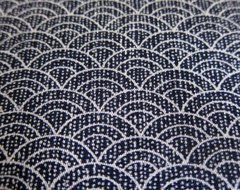 FREE SHIPPING Gentle Waves on Black Fabric - Japanese Cotton Fabric (F038) - Fat Quarter