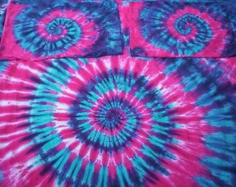Raspberry Dreams Full Size Sheet Set Tie Dye Organic Cotton
