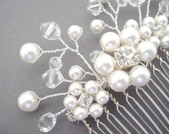 Bridal Spray Comb, Swarovski Crystals and Pearls