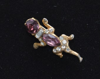 Pretty Vintage Gecko, Lizard Scatter Pin, Purple Rhinestone, Faux Pearl