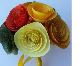 Wedding Bouque,Fall Bridesmid ready to ship  Bouquet ,centerpiece , Wedding centerpiece 12  Paper flowers