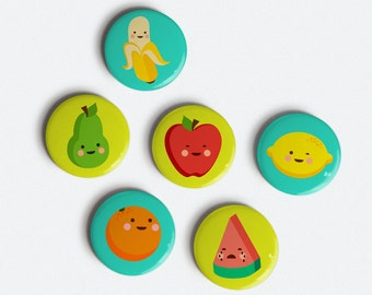 Cute Fruit 1 inch magnet set of 6