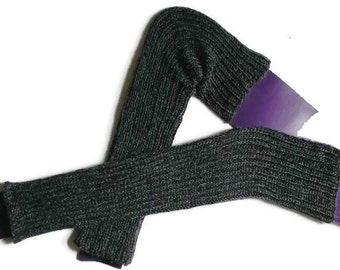 Over The Knee - Thigh High Leg Warmers  - Hand Knit -Ribbed - Wool/Mohair  Black  / Seamless