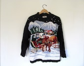 vintage ugly Christmas sweater // tacky christmas sweater // holiday party sweater in black / size l petite