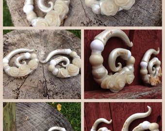 "Gauges,Plugs,Ear Gauges,Gauged earrings, Earrings for stretched lobes - Ready to ship 7/16 ""Victorian"""