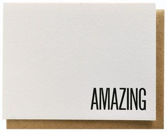 Amazing Flat Note Card Letterpress Printed