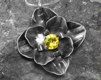Sterling Silver Flower - Natural Citrine Pendant - Yellow Citrine - Citrine Jewelry - Sterling Floral - Spring Jewelry - Natural Gemstone