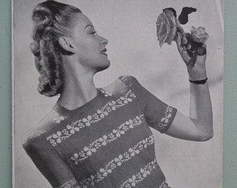 Vintage 1940s Knitting Pattern Women's Fair Isle Jumper / Sweater Floral Design - 40s original pattern Weldons No. 588 Uk
