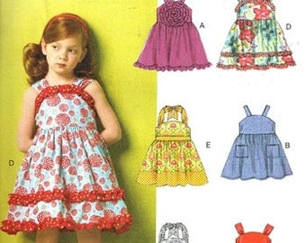 GIRLS CLOTHES  PATTERN / Make Summer Dresses or Sundresses / Sizes 2 to 5 Or 6 to 8