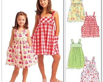 GIRLS DRESS  PATTERN / Make Dresses or Sundress / Sizes 3 to 6 Or 7 to 14 / Summer Clothes