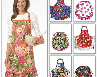 APRON SEWING PATTERN / Full and Half Aprons / Sizes Small to Extra Large