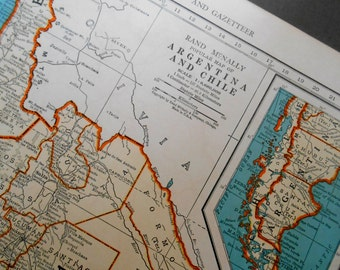 Argentina and Chile, Original 1939 Vintage Map, old atlas map for wall art
