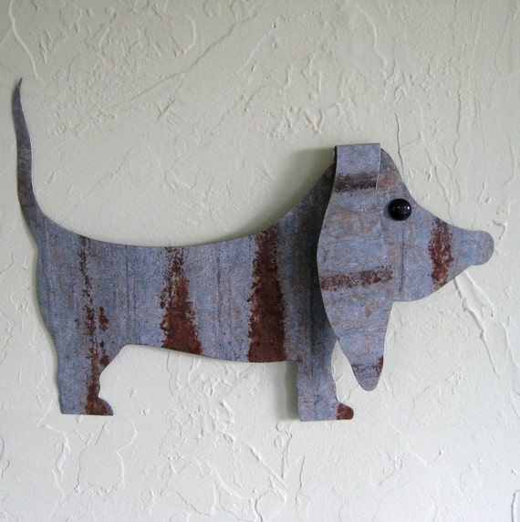 Metal wall art sculpture Basset Hound wall hanging upcycled metal dog decor animals   11 x 16