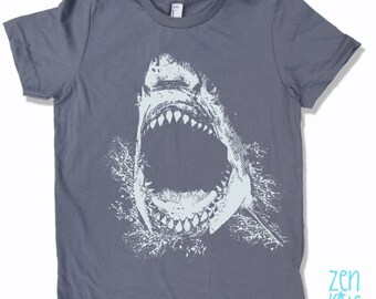 Kids Tee SHARK Shirt - American Apparel Sizes 2 4 6 8 10  12 - FREE Shipping