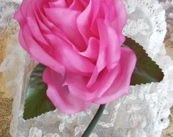 1950's Fuschia Silk Rose