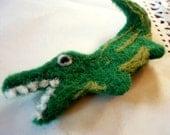 Brooch - Alligator - Cute Green Needle Felted  Kitschy Wool Brooch - Reptilian Fiber Art