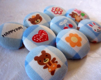 Sweet Kawaii Fabric-Covered Buttons - Set 1 of 2 - Bunnies, Bears, Flowers, and Hearts Covered Fabric Buttons - Children's Button Set - Kids