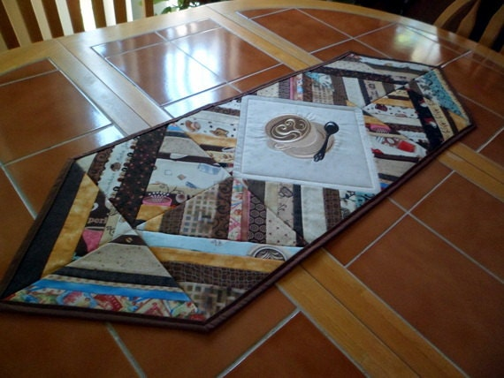 Coffee Time Quilted Coffee Table Runner 38 In X 12 5 In