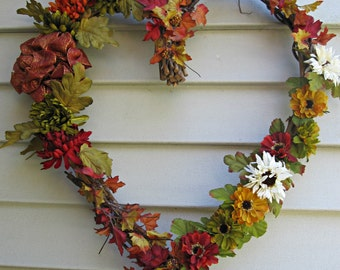 Fall Heart Shaped Wreath