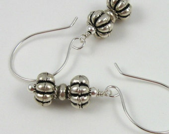 Silver Hourglass Earrings, Hill Tribes silver bead dangles on sterling silver wires